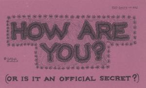 How Are You IS AN OFFICIAL SECRET Comic Humour Proverb Postcard