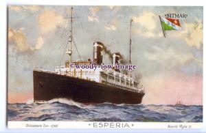 LS1211 - Italian Sitmar Liner - Esperia - artist postcard