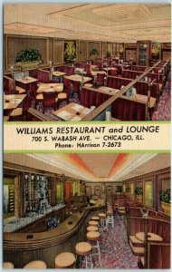 Chicago IL Linen Postcard WILLIAMS RESTAURANT AND LOUNGE 700 S. Wabash 1952