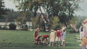 LAKE MUSKOKA, Ontario, Canada, 1900-1910s; Lawn Bowling, Elgin House