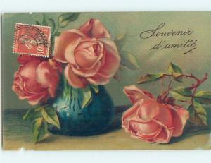 Pre-Linen foreign BEAUTIFUL PINK ROSE FLOWERS IN BLUE VASE HL7466