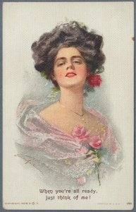 Rare Ludwig Knoefel Postcard Beautiful Girl ~ Just Think of Me!