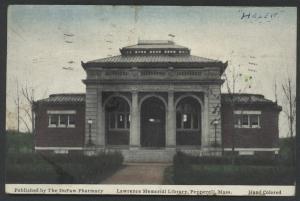 Pepperell Lawrence Memorial Library Massachusetts Vintage Postcard