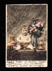 009834 Boy on Table w/ Flowers VASE Vintage PHOTO tinted