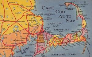 Tourists Auto Map Of Cape Cod Massachusetts 1956