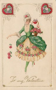 VALENTINE'S DAY ; To my Valentine , 1900-10s; Woman with roses