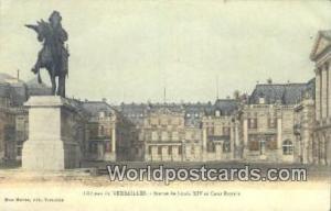 Chateau de Versailles, France, Carte, Postcard Statue de Louis XIV et Cour Ro...