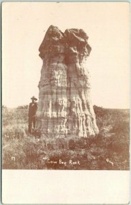 MEDICINE LODGE, Kansas RPPC Postcard Cowboy Rock / QUIRK Photo - 1908 Cancel