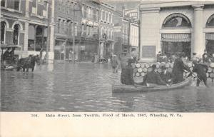 E66/ Wheeling W Va Postcard Flood Disaster 1907 Main Street 12th Boats Horse 13