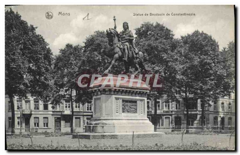 Old Postcard Mons Statue Baldwin of Constantinople