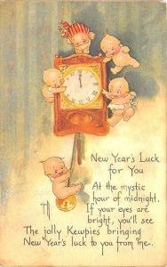 Signed Rose O'Neill Kewpie New Year's Luck For You Poem Postcard
