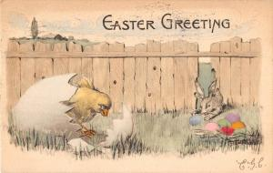 Easter Bunny Rabbit and Chick with Egg Antique Postcard A2489