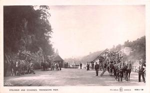 Scotland, UK Old Vintage Antique Post Card Steamer and Coaches Trossachs Pier...