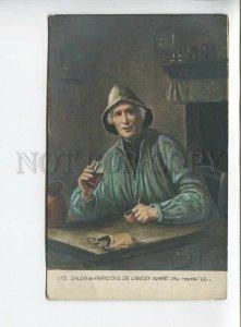 438385 DE LANCEY-WARD Au repos FISHERMAN Old postcard WATERCOLOR tinted SALON