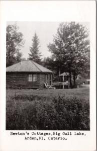 Newton's Cottage Big Gull Lake Arden Ontario ON c1949 RPPC Postcard E23 *As Is