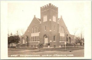 FRANKLIN, Nebraska RPPC Real Photo Postcard FIRST CONGREGATIONAL CHURCH c1950s