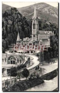 Old Postcard Lourdes Basilica side view
