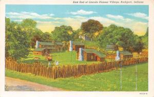ROCKPORT INDIANA EAST END OF  LINCOLN PIONEER VILLAGE POSTCARD c1930s