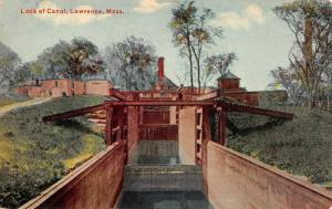 Lawrence Massachusetts Lock Of Canal Waterfront Antique Postcard K106115