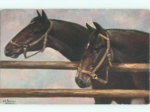 Pre-Linen Close-Up signed PAIR OF HORSES AT THE FENCE AC5746