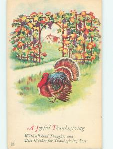 Pre-Linen thanksgiving TURKEY WALKS BY WALL COVERED BY COLORED LEAVES HQ7730-12
