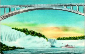 General View Rainbow Bridge Niagara Falls NY Postcard unused 1930s/40s (11280)