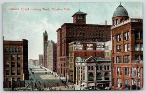 Omaha NE~Peoples Department Store~Bldg w/Fire Escapes~Another w/Dome~Tower~1910