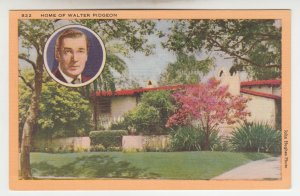 P2004, ca1942 home of walter pigeon actor postcard manufactured calif unused