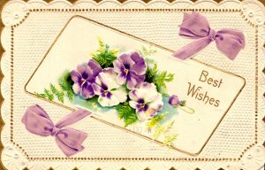 Best Wishes - Pansies - Bows - Embossed - in 1910