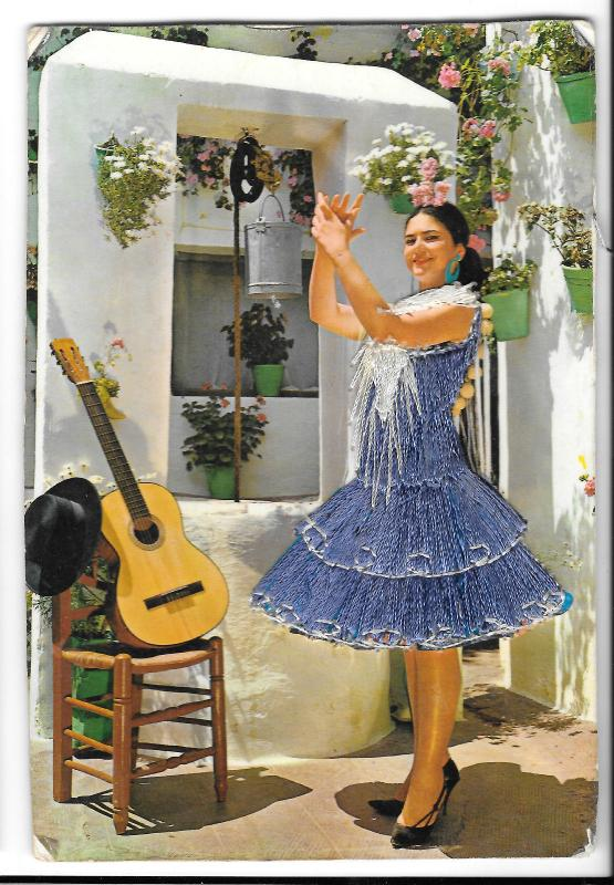 Flamenco dancer Woman in Traditional Dress, Emroidered Card, Unposted