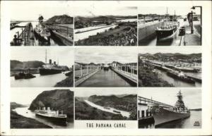 Panama Canal Postal History Stamps & Cancel Multi-View Real Photo Postcard