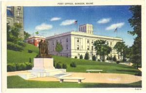 Post Office ,Bangor, Maine, ME, 1947 Linen