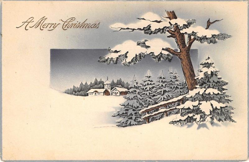 Christmas~Winter Scene~Snow Laden Tree~Pines Along Fence~Vignette~1913 Germany