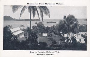 Rade de Port-Vila,l'Eglise et l'Ecole,Nouvelles-Hebrides, 1910-30s
