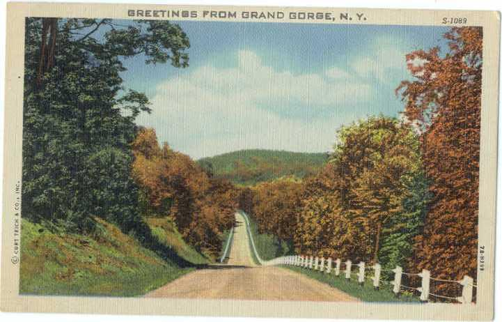 Linen Highway Scene Greetings from Grand Gorge NY New York