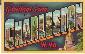 Greetings From Charleston - Curteich Linen Texture - Unused