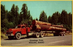 Greetings from Mullan, Idaho, 1950's Mac Logging Truck