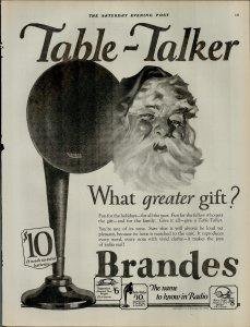 1924 Brandes The Name Known in Radio Santa Table Talker Vintage Print Ad 3963
