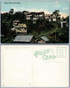 PUERTO RICO NATIVE HUTS PORTO RICO ANTIQUE POSTCARD