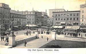 Worcester MA City Hall Square Trolley's in 1908 Postcard