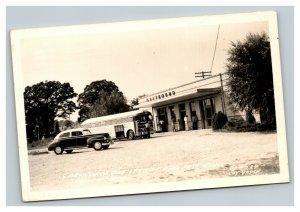Vintage 1949 RPPC Postcard Greyhound Bus Station Antique Auto & Bus Selmer TN