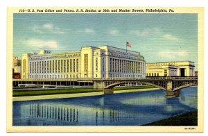 PA - Philadelphia. US Post Office & Pennsylvania RR Station at 30th & Market