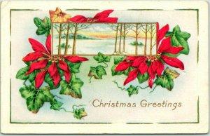 1920s Whitney CHRISTMAS Greetings Postcard Winter Scene / Poinsettia Flowers