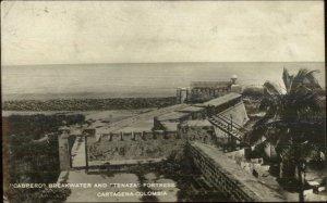 Cartagena Colombia Cabrero Breakwater 1926 Used Real Photo Postcard