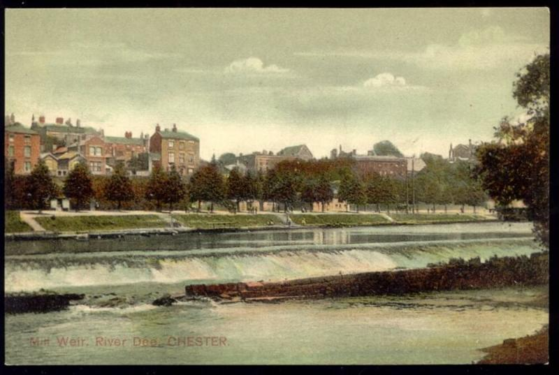 cheshire, CHESTER, Mill Weir, River Dee (1910s)