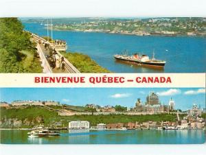 Quebec Canada Promenade of Governors Greetings Ships River Cana  Postcard # 6692