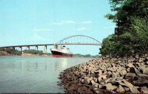 Delaware Freighter Under St Georges High Level Bridge Between Wilmington and ...