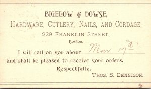 Massachusetts Boston Bigelow & Dowse Hardware Cutlery Nails & Cordage 1894