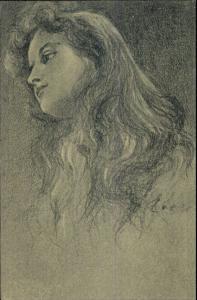 Pencil Sketch - Thoughtful Beautiful Young Girl - Signature c1910 Postcard