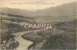Old Postcard Around Belley Rhone Defile the Dent du Chat The 1497 Altitude an...